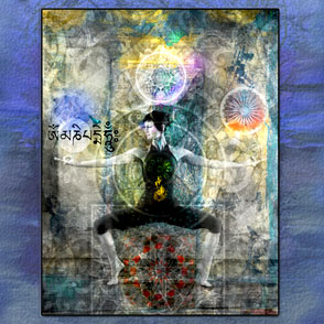 woman in yoga pose with chakra symbols; illustration